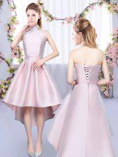 Customized Baby Pink Satin Lace Up Halter Top Sleeveless High Low Damas Dress Ruching