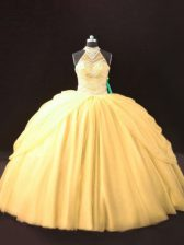 Gold Tulle Lace Up Ball Gown Prom Dress Sleeveless Floor Length Beading and Pick Ups