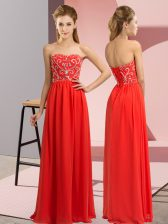 Chiffon Sweetheart Sleeveless Lace Up Beading Prom Gown in Red