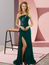 Peacock Green Elastic Woven Satin Lace Up Prom Gown Sleeveless Sweep Train Beading