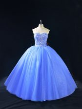 Dramatic Sweetheart Sleeveless Ball Gown Prom Dress Floor Length Beading Blue Tulle