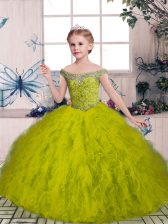 Olive Green Lace Up Little Girl Pageant Gowns Beading and Ruffles Sleeveless Floor Length