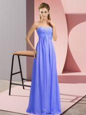 Glamorous Lavender Empire Sweetheart Sleeveless Chiffon Floor Length Lace Up Beading Homecoming Dress