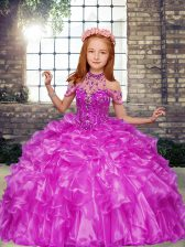 Best Sleeveless Lace Up Floor Length Beading and Ruffles Pageant Gowns For Girls