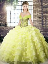 Fashion Yellow Ball Gowns Organza Off The Shoulder Sleeveless Beading and Ruffled Layers Lace Up Vestidos de Quinceanera Brush Train