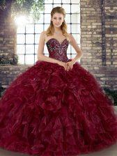 Flare Floor Length Burgundy Quinceanera Dress Organza Sleeveless Beading and Ruffles