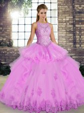 Sweet Sleeveless Lace and Embroidery and Ruffles Lace Up Sweet 16 Quinceanera Dress
