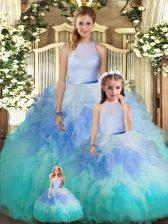 Elegant Multi-color Sleeveless Floor Length Ruffles Backless Ball Gown Prom Dress
