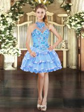 Best Halter Top Sleeveless Organza Dress for Prom Embroidery and Ruffled Layers Lace Up
