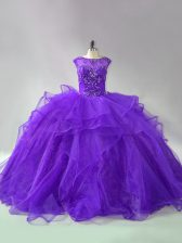 Organza Scoop Sleeveless Brush Train Lace Up Beading and Ruffles 15th Birthday Dress in Purple