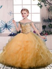 Tulle Off The Shoulder Sleeveless Lace Up Beading and Ruffles Little Girl Pageant Gowns in Gold