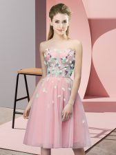 Affordable Knee Length Pink Dama Dress for Quinceanera Sweetheart Sleeveless Lace Up
