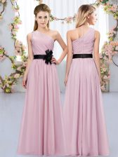 Deluxe One Shoulder Sleeveless Dama Dress for Quinceanera Floor Length Belt Pink Chiffon