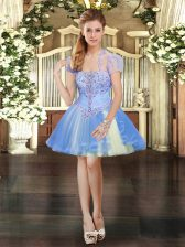 Lavender Sleeveless Tulle Lace Up Homecoming Dress for Prom and Party