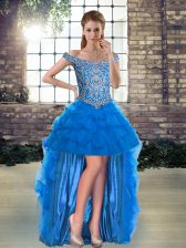 Great Blue Tulle Lace Up Prom Dress Sleeveless High Low Beading and Pick Ups