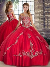 Ideal Red Tulle Lace Up Off The Shoulder Sleeveless Floor Length Quinceanera Dresses Beading and Embroidery