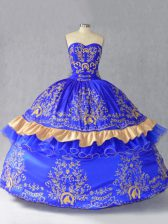 Sumptuous Floor Length Lace Up Quinceanera Dresses Royal Blue for Sweet 16 and Quinceanera with Embroidery and Bowknot