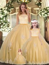 Noble Gold Ball Gowns Lace and Appliques Sweet 16 Dress Clasp Handle Tulle Sleeveless Floor Length