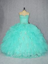 Flare Floor Length Ball Gowns Sleeveless Aqua Blue Quinceanera Gown Lace Up