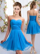 Baby Blue Lace Up Quinceanera Court of Honor Dress Ruching Sleeveless Mini Length