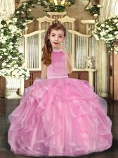 Baby Pink Sleeveless Beading and Ruffles Floor Length Little Girl Pageant Dress