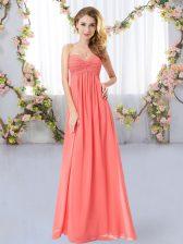 Empire Quinceanera Dama Dress Watermelon Red Sweetheart Chiffon Sleeveless Floor Length Zipper