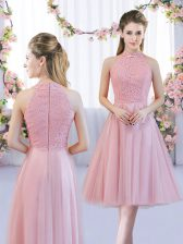 Tea Length Zipper Quinceanera Court of Honor Dress Pink for Wedding Party with Lace