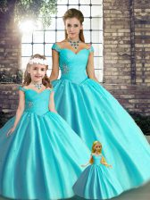 Beautiful Beading Quinceanera Gowns Aqua Blue Lace Up Sleeveless Floor Length