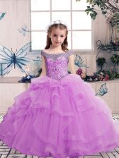 Beauteous Tulle Sleeveless Floor Length Little Girl Pageant Gowns and Beading