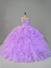 Colorful Sleeveless Beading and Ruffles Lace Up Quinceanera Gowns