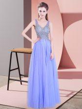 Tulle Sleeveless Floor Length Homecoming Dress and Beading