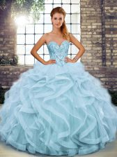 Custom Design Light Blue Lace Up Sweetheart Beading and Ruffles Quince Ball Gowns Tulle Sleeveless