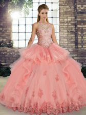Watermelon Red Sleeveless Floor Length Lace and Embroidery and Ruffles Lace Up Sweet 16 Dresses