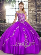 Vintage Purple Ball Gowns Beading and Embroidery Sweet 16 Dress Lace Up Tulle Sleeveless Floor Length