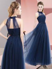 Lovely Navy Blue Halter Top Neckline Beading and Appliques Quinceanera Court of Honor Dress Sleeveless Lace Up