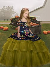 Lovely Olive Green Ball Gowns Embroidery and Ruffled Layers Little Girls Pageant Gowns Lace Up Tulle Sleeveless Floor Length