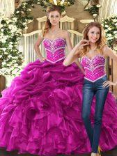 Sweetheart Sleeveless 15th Birthday Dress Floor Length Beading and Ruffles and Pick Ups Fuchsia Organza