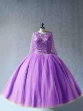 Perfect Tulle Scoop Long Sleeves Lace Up Beading Quince Ball Gowns in Lavender