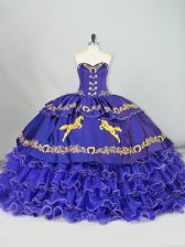 Sumptuous Purple Sweetheart Lace Up Embroidery and Ruffled Layers Quinceanera Dresses Brush Train Sleeveless