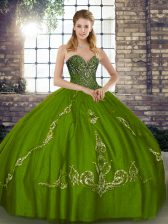 Beading and Embroidery Sweet 16 Dresses Olive Green Lace Up Sleeveless Floor Length