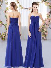 Luxurious Royal Blue Sleeveless Ruching Floor Length Dama Dress