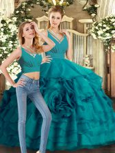 Glittering Teal Ball Gown Prom Dress Sweet 16 and Quinceanera with Ruffled Layers V-neck Sleeveless Sweep Train Backless