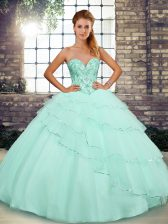 Custom Fit Apple Green Sweetheart Neckline Beading and Ruffled Layers Sweet 16 Quinceanera Dress Sleeveless Lace Up