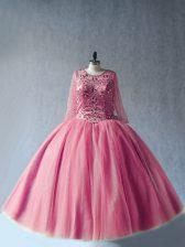 Long Sleeves Lace Up Floor Length Beading Sweet 16 Dress