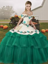 Superior Off The Shoulder Sleeveless Quince Ball Gowns Brush Train Embroidery and Ruffled Layers Turquoise Tulle