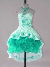 Sleeveless Lace Up High Low Embroidery and Ruffles Prom Party Dress