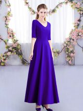 Simple Purple Empire Satin V-neck Half Sleeves Ruching Ankle Length Zipper Quinceanera Court Dresses