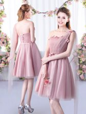 Dramatic A-line Quinceanera Dama Dress Pink One Shoulder Tulle Sleeveless Knee Length Lace Up