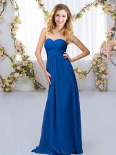 Lovely Sweetheart Sleeveless Chiffon Quinceanera Court of Honor Dress Beading Criss Cross