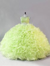 Ideal Yellow Green Fabric With Rolling Flowers Zipper Scoop Sleeveless Floor Length Sweet 16 Dresses Beading and Ruffles